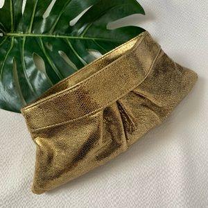 Lauren Merkin louise shiny gold clutch
